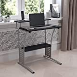 Flash Furniture Clifton Computer Desk - Black Home Office Desk - Raised Monitor Shelf - Perforated Side Paneling