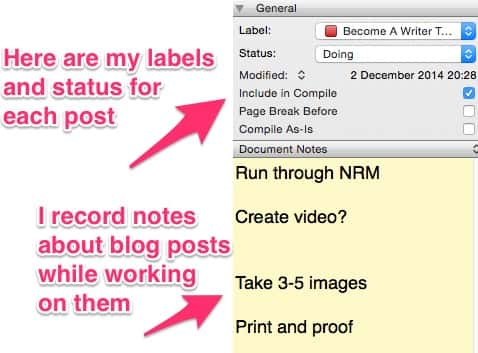 Labels and notes in Scrivener