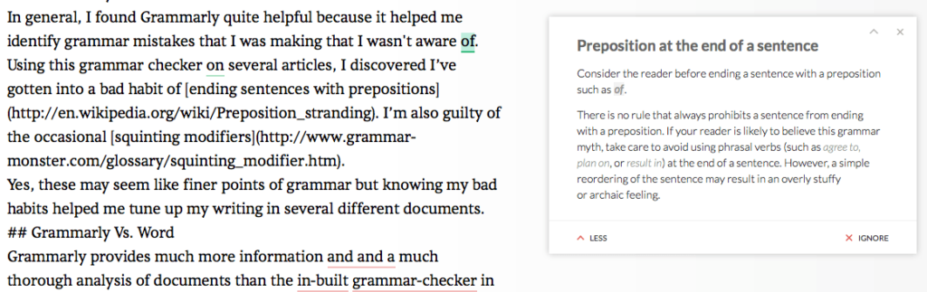 The Grammarly knowledgebase of grammar errors